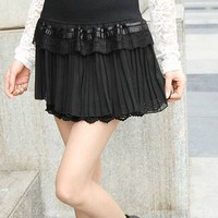 Brand New Pleated Design Layered Chiffon Solid Color Skirt
