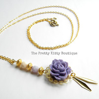 Long Rose and Gold Dangles Necklace