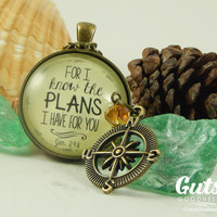 Jeremiah 29:11 For I Know the Plans Scripture Pendant Necklace Encouragement Gift For New Beginnings Graduation Gift Survivor Necklace