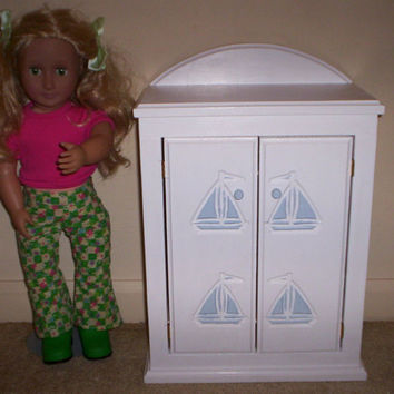 Armoire doll furniture bedroom chiffrobe Made for American girl white with light blue sailboat design