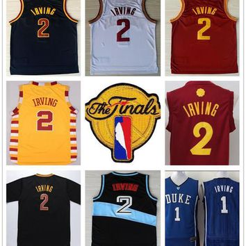 2017 Finals Basketball 2 Kyrie Irving Jersey Stitched Red Blue White Yellow Black Orange College Kyrie Irving Jerseys Shirts With The Patch