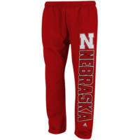 adidas Nebraska Cornhuskers Big Block Fleece Sweatpants - Scarlet
