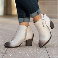 Bow Beige Distressed Faux Suede Boots