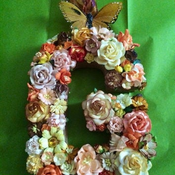 Custom Floral Letter Monogram - Paper Flower Initial in Your Choice of Colors and Letters on Paper Mâché Base