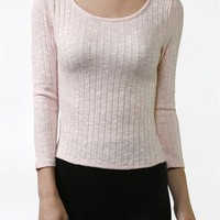 Casual Scoop Neck 3/4 Sleeve Two Tone Ribbed Jersey Cropped Basic T-Shirt Top