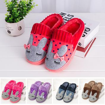 Winter Womens Home Slippers Cotton Men's Warm House Slippers Soft Bunny Slippers Women