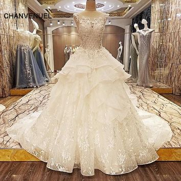 LS74226 special wedding dresses lace ball gown corset back wedding gowns 2018 robe de mariage real photos