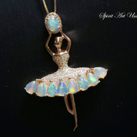 Opal Necklace, Genuine Flash Ethiopian Opal Pendant, Ballet Dancing Girl Necklac