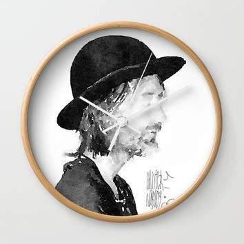 Thom Yorke Watercolor portrait by MrNobody Wall Clock by mrnobody
