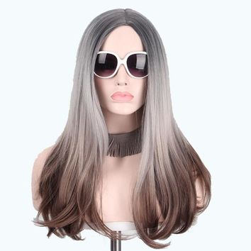 B048-Women Long Straight Wig Hair High Temperature Heat Resistant Big Wave