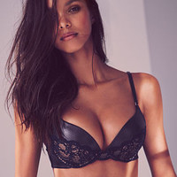 Faux Leather & Lace Push-Up Bra - Very Sexy - Victoria's Secret