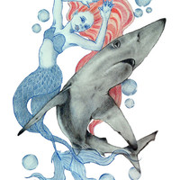 The Shark and the Two-Tailed Siren Art Print by Jen Dulin | Society6