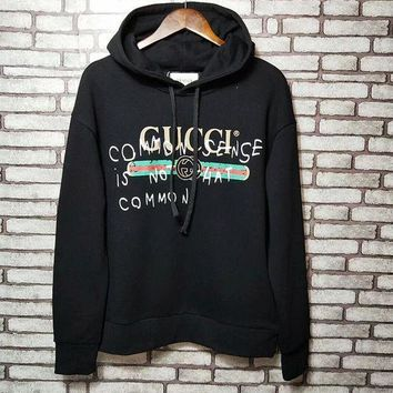 GUCCI Popular Women Men Casual Print Long Sleeve Top Sweater Hoodie Sweatshirt Black I