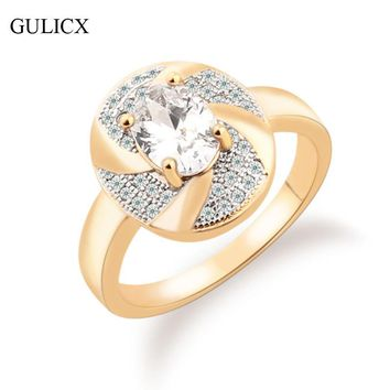GULICX Luxury 2017 New Fashion Ring for Women White and Gold-color  Ring Large Oval Crystal Cubic Zirconia Wedding Ring R238