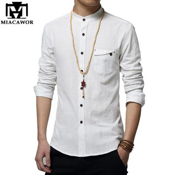 MIACAWOR Cotton Linen Men Shirt New 2018 Stand Collar Casual Male Shirt Slim Fit Mens Shirts Long-Sleeve Camisa Hombre 5XL MC250