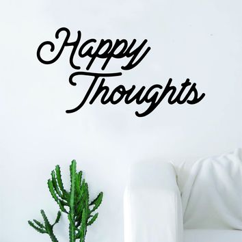 Happy Thoughts Quote Wall Decal Sticker Room Art Vinyl Beautiful Cute Positive Good Vibes Namaste Flower Meditate Buddha