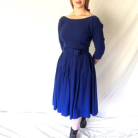 FLIRTY Designer 50s Royal Blue Wool Dress Sexy Plunging Backline Vintage Bombshell Full Skirt Matching Belt Julie Miller California