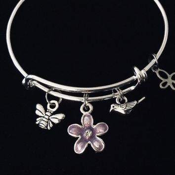 Child Size Adjustable Charm Bracelet Purple Flower Bird Bee Butterfly Children's Jewelry Expandable Silver Bangle Young Girl's Tween Jewelry Gift Kids Size