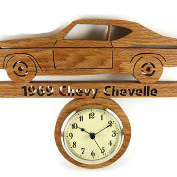 1969 Chevy Chevelle Wall Hanging Clock Handmade From Oak Wood By KevsKrafts