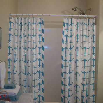 "Extra Long, Reg. length also! Custom Double Panel/Split Bath Shower Curtain-72"", 84"", 90"", 96"",108"", 120""- Shoreline Ahoy Coastal Blue/White"
