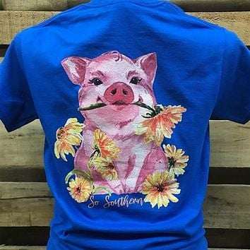 Southern Chics Apparel So Southern Pig Flowers Country Girlie Bright T Shirt