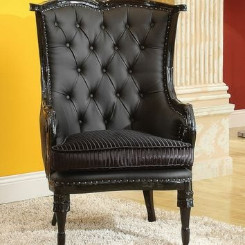 A.M.B. Furniture & Design :: Living room furniture :: Accent chairs :: Pawnee II neo classic black tufted faux leather and black finish wood frame wing back accent side chair with nail head trim