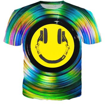 ROTS Headphone Smiley Face On Color Vinyl Record Adult T-Shirt