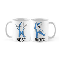 Superbowl Left Shark Right Shark Best Friends and Couples Customizable Ceramic Coffee Mug Pair