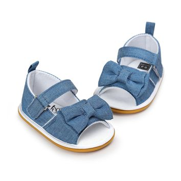 Copy of 2018 Summer Denim Princess Girls Baby Bow Knot Stick Bow Striped Sandals Pre Order