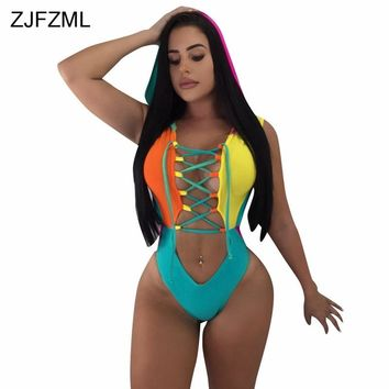 ZJFZML Front Lace Up Sexy One Piece Bodysuit Summer Hollow Out Sleeveless Hooded Overall Backless Bodycon Rompers Women Jumpsuit