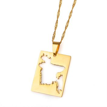 Bengal Country Map Gold Color Thin Chain Pendant Necklace Bangladesh Bengalese Maps Patriotic Jewelry Gifts #J0485