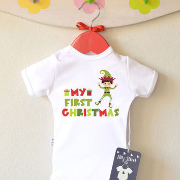 My First Christmas - Christmas Baby Clothes. Baby Santa Elf Bodysuit or Shirt. Short or Long Sleeve. Add Your Name.