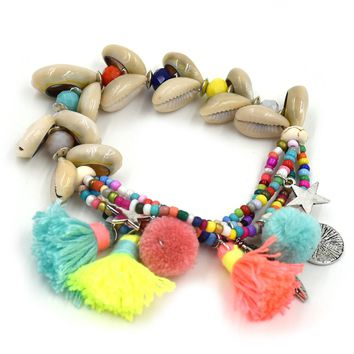 New Handcraft friendship bracelets tassel charm bracelets bangle sea bach shell stone Beaded Bohemia Bracelets for women