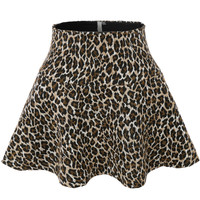 LE3NO Womens Versatile Leopard Flared Skater Skirt (CLEARANCE)