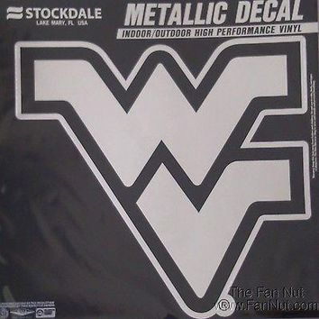 West Virginia Mountaineers Large Silver Metallic Vinyl Auto Decal University Of