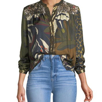 La Prestic Ouiston Floral-Pattern Mandarin-Collar Silk Blouse