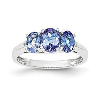 14k White Gold 3-Stone Oval Tanzanite & Diamond Ring