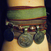Earth Goddess Boho Silk Wrap Bracelet with Tribal Kuchi Coins, Gypsy Wrap Bracelet, Yoga Bracelet, Green and Brown Hues with Copper Accents