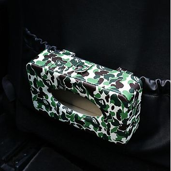 Bape Aape Camouflage Print Car Paper Towel Box Hanging Type Sunroof And Sunroof Car Use The Paper Box Car Interior Decorative Leather Creative Tissue Box