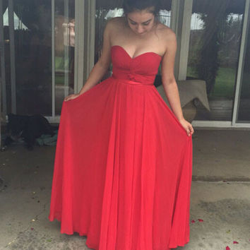 Red Chiffon Long Sweetheart Prom Dresses