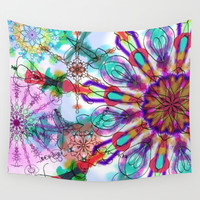 Kaleidoscope design in purples, pinks, lavender and red. Wall Tapestry by Regan's World