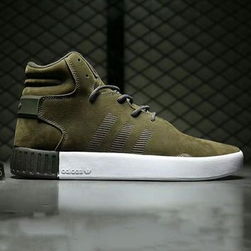 Adidas tubular invader strap Fashion Men Running Sport Casual High Top Shoes Sneakers Green G-A0-HXYDXPF