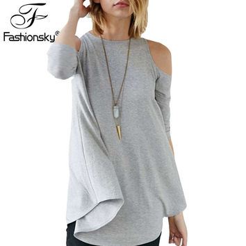 Fashionsky 2016 New Arrivals T Shirts Women Three Quarter Sleeve Round Neck Off The Shoulder Tops All Match Tees Womens B0001