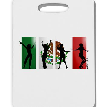 Mexican Flag - Dancing Silhouettes Thick Plastic Luggage Tag by TooLoud