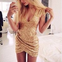 Sexy gold sequins shining party dress  MY0090FY