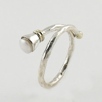 Pearl Two Tone Adjustable Sterling Silver Ring