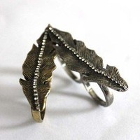 Unique design Vintage Rhinestone Leaf Double Finger Ring free shipping 1pcs