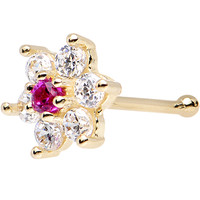 Solid 14KT Yellow GOLD Fuchsia AND Crystalline CZ FLOWER Nose Stud   Body Candy Body Jewelry