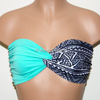 Mint and Aztec Tribal Bandeau Top, Swimwear Bikini Top, Twisted Top Bathing Suits, Spandex Bandeau Bikini