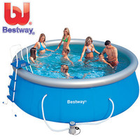 this: Bestway Fast Set Inflatable Pool - Easy to Setup with Filter Pump, Ground Cloth, Cover, Ladder, Maintenance Kit and Instructional DVD - 457cm x 122cm
